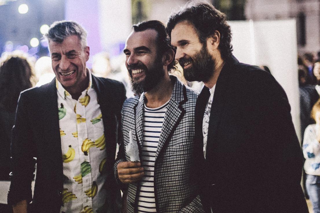 Maurizio Cattelan, Stefano Seletti, Carlo Cracco. Piazza Affari, Milano, 2014. Photo: Meschina-Rossetti.